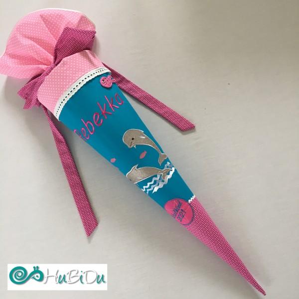 Schultüte pink türkiser Delfin