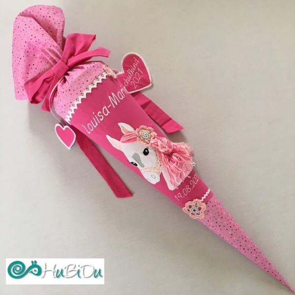 Schultüte Pferd rosa Herzchen/pink mit Mähne