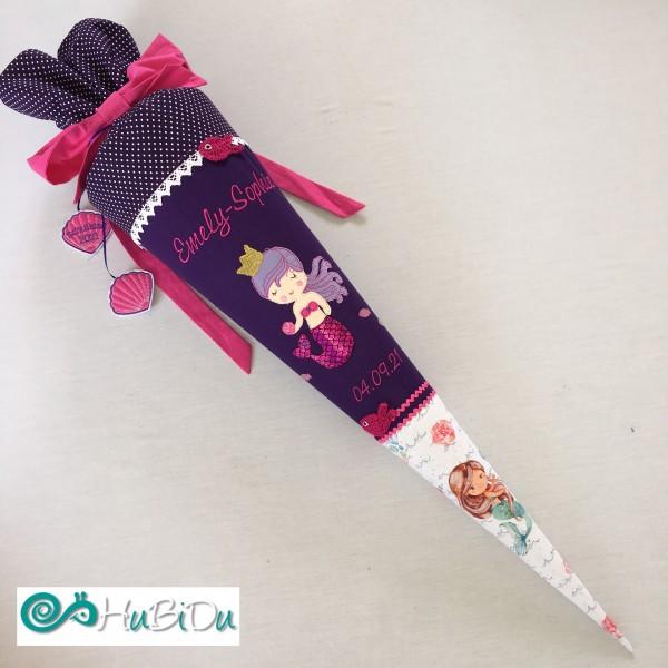 Schultüte Meerjungfrau lila mit Krone